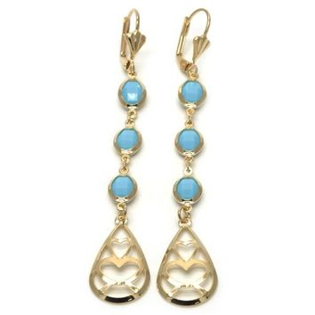 Gold Layered 02.32.0542 Long Earring, Heart and Teardrop Design, with Turquoise Opal, Polished Finish, Golden Tone
