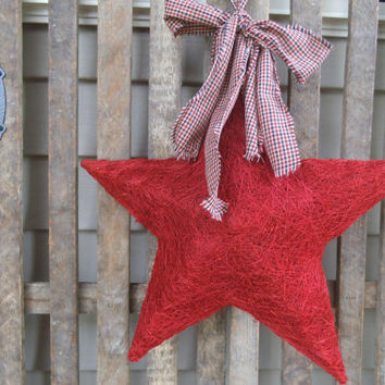 Red Star - Americana Wreath - Colonial Wreath - Patriotic Wreath -   Door  Wreath -  Star  Wreath- Star Door Greeter