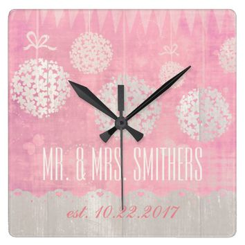 Custom Wedding Day Floral Square Wall Clock