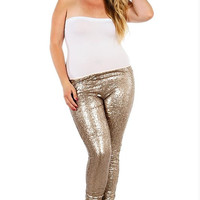 Curvy Sequin Leggings, Gold