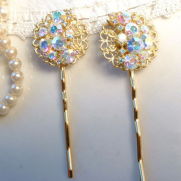 Vintage Gold Clear Aurora Borealis Rhinestone Bridal Bobby Pins - 22K Gold Heirloom Jeweled Hair Pins Set of 2