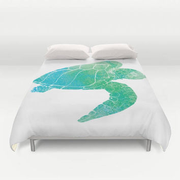 Sea Turtle Graphic Duvet Cover or Comforter, Kemp's Ridley Sea Turtle on white, Ocean, coastal surf aqua, blue, green, teen,  bedroom decor