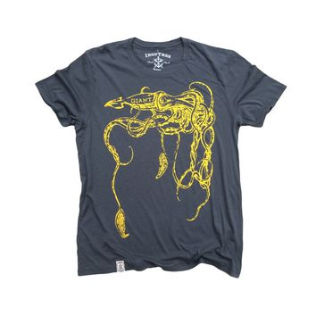 Giant Squid: Organic Fine Jersey Short Sleeve T-Shirt in Slate