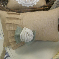 "Burlap Country French Single Ruffle Tan Burlap pillow 11"" X 17"" rustic wedding, burlap home decor"