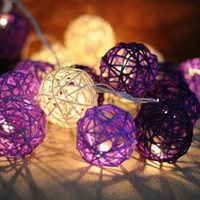 20x Purple and white color Rattan ball string light for home decor