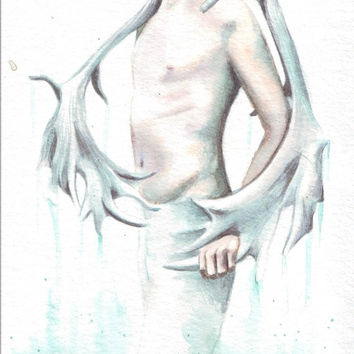 HM060 Original watercolor art Boy with Horn Wings painting by Helga McLeod