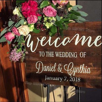 Rustic Wood Wedding Welcome Sign Stickers Country Wedding Decor New Arrival Custom Name Date Wall Window Decal Waterproof S428