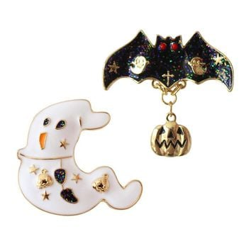 2018 New Halloween White Ghost Black Bats Pumpkin Brooch Halloween Badges Ghost Bats Pumpkin Cartoon Personalized Brooches Pin