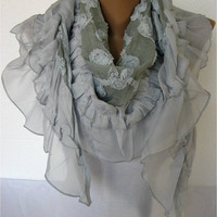 ON SALE - Shawl Scarf - Cowl Scarf Lace Scarf  gift Ideas For Her Women's Scarves-christmas gift-Fashion accessories