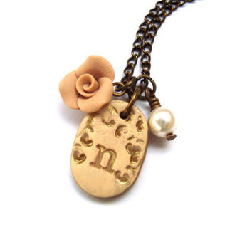 Initial Necklace. Letter Necklace. Oval Pendant. Personalized Letter. Gold Initial. Ivory Rose, Swarovski Crystal Pearl