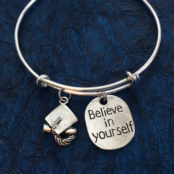 Believe in Yourself Stamped Charm Bracelet Silver Expandable Adjustable Silver Wire Bangle Handmade