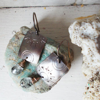 Black rutile quartz drop sun & moon sterling silver earrings, AAA rutilated stone briolettes, domed stamped wire wrapped artisan jewelry