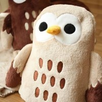 Aunt Merry Owl Animal Backrest Cushion Blanket 2 in 1 Pillow Doll Plush Stuffed