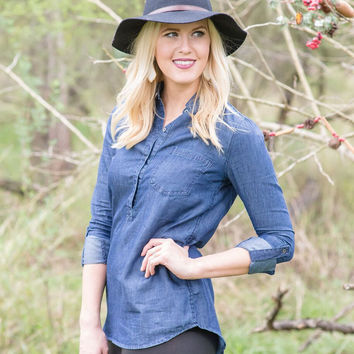 Waiting for You Chambray Top - Dark Denim