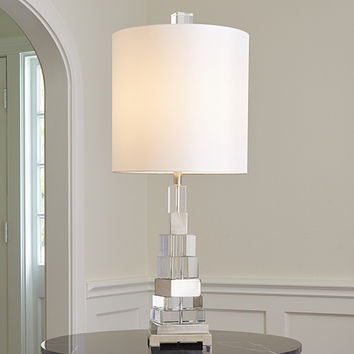 Global Views Nickel One Light Twisted Crystal Lamp 8.82478 | Bellacor