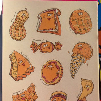 Peanut Flavored Scratch 'n Sniff Stickers, 80's Vintage Stickers