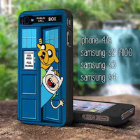 Adventure Time Jake Finn In Dr Who Tardis for iphone 4/4s case, iphone 5/5s/5c case, samsung s2 i9100,s3/s4 case cover