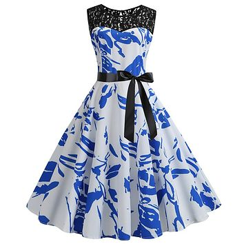 Vintage Women Dress White Blue Patchwork Lace Zipper Sexy Dress Bodycon Female Party Stylish Dresses Bow Tie Vintage vestidos