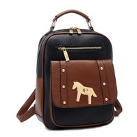 Retro Contrast Color Horse Backpack Bag