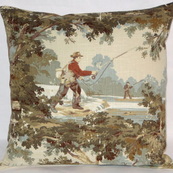 "Fly Fishing Toile Pillow, 18"" Square, Covington Avondale Scenic, Olive Ivory Blue Gold, Sport Outdoors Fisher Man, Linen Blend, Ready Ship"
