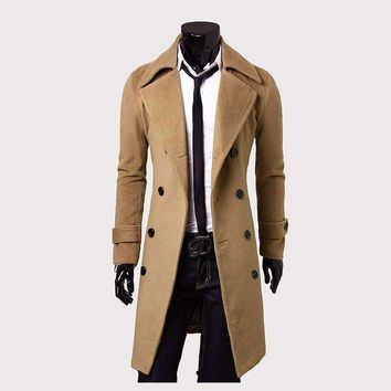 Mens Trench Coat Double-breasted Windproof Straight Loose
