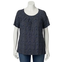 Croft & Barrow Printed Pleated Top - Women's Plus Size, Size: