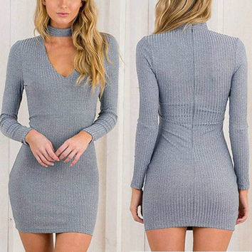 2016 Women Bandage Bodycon Long Sleeve Dress Autumn Winter Sexy Party Mini Short Dress Solid Fashion Dress Vestidos