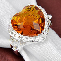 925 silver Brazil Citrine Ring gemstone jewelry fashion for women free shipping R0203