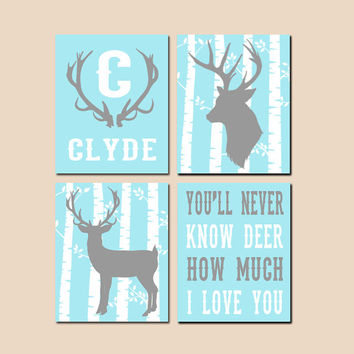DEER Wall Art, Canvas or Prints, Baby Boy Nursery Decor, Rustic Country Artwork, Personalized Boy Name, Boy Bedroom Set of 4 Antlers