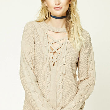Contemporary Lace-Up Sweater