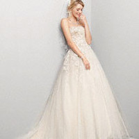 Tulle Ballgown with Champagne Lining and Beading - David's Bridal