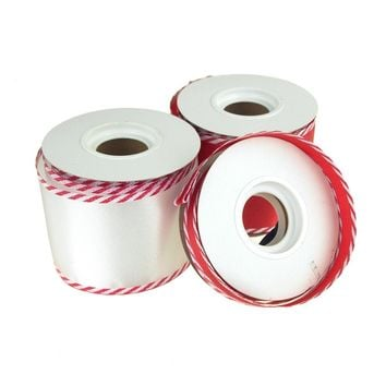 Satin Wired Edge Ribbon with Candy Cane Trim, 10 Yards