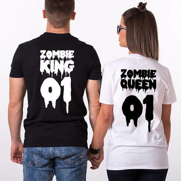 Halloween Couple Shirts, Zombie Shirts, King Queen Halloween Shirts, Halloween Shirt for Couples, Halloween T-shirt, Couple Shirts, UNISEX