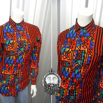 Vintage 90s Wrangler Shirt Womens Fitted Shirt Aztec Print Western Shirt Vertical Stripe Hip Hop Hipster Shirt Slim Collared Fresh Prince