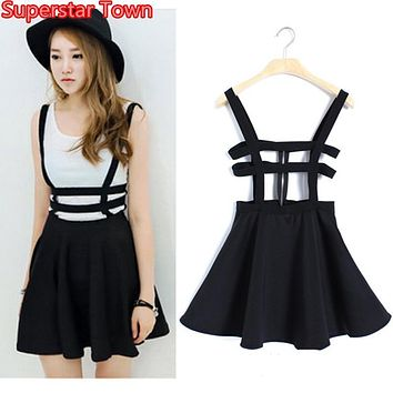 2016 Kawaii Adorable Summer Breasted Suspender Skirts Lolita Casual Overall Cute Skits Skirts Womens Faldas Mujer