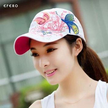 ESBG8W 1Pcs Girls Lady Baseball Caps Butterflies And Flowers Embroidery Summer Caps Hip Hop Baseball Hats Adjustable Snapbacks Caps