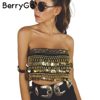 BerryGo Tassel beading velvet  top tees Summer 2017 lace up punk crop top women Sexy gold sequin tank top coin chain tube top