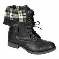 Plaid Combat Boots Fold Over Black Military Fashion Trend Womens Ankle Calf Boot