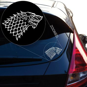 5pcs/lot Game of Thrones Direwolf White and Black Stickers for Car Window Laptop Motorcycle Walls Mirror Waterproof decals
