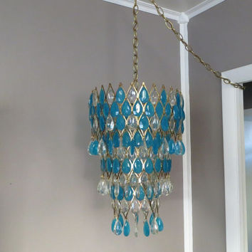 Hanging Light Hanging Lamp Hollywood Regency Light Mid Century Light Vintage Chandelier Turquoise Chandelier