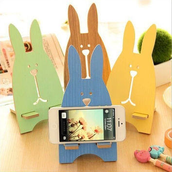 Cartoon rabbit cell phone holder Wooden frame Universal Mobile Cell Phone Stand Holder for Smartphone & Samsung & iphone