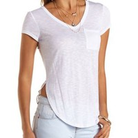 Step Hem High-Low Pocket Tee by Charlotte Russe
