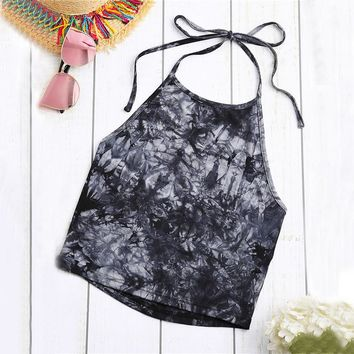 Crumple Black Gray Tie Dye Halter Tops