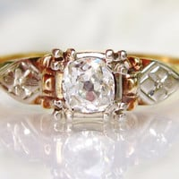 Antique Engagement Ring 0.40ct Old Mine Cut Diamond Art Deco Engagement Ring 14K Two Tone Gold Diamond Wedding Ring Vintage Engagement Ring!