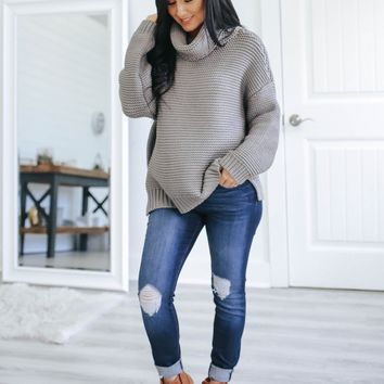 Fond of You Sweater - Grey