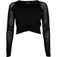 River Island Womens Black wrap front mesh sleeve crop top