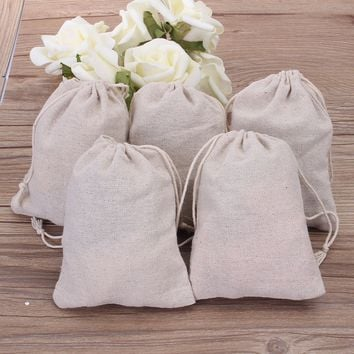 1~50pcs DIY Cotton Linen Drawstring Storage Bag Toy Shoe Laundry Travel Pouch