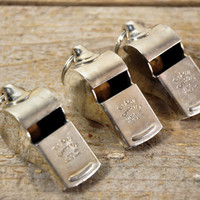 Vintage ACME Thunderer Whistles // Set of Three Metal Whistles