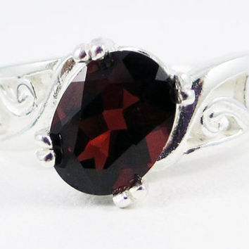 Garnet Oval Filigree Ring Sterling Silver, January Birthstone Ring, Sterling Silver Filigree Ring, 925 Garnet Ring, Garnet Oval Ring