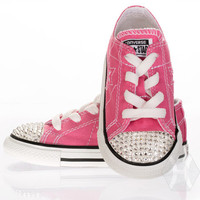 Converse Chucks w Crystal Clear Swarovski Crystal toe detail